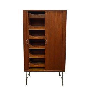 """Original Danish Mid Century Tambour Door Filing Cabinet - """"Antonigade"""""""