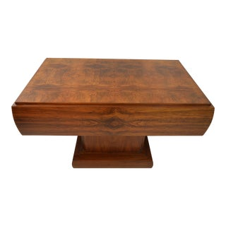 Excellent Art Deco Writing Desk in Walnut on a Central Base.