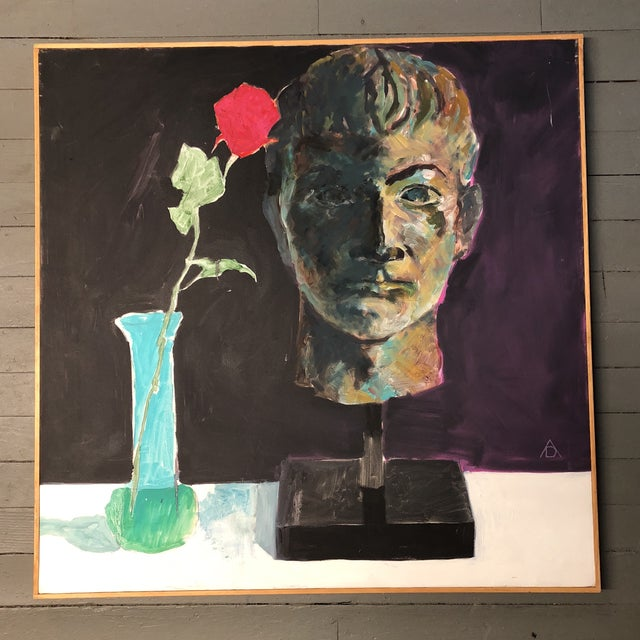 Canvas Large Original Vintage Modernist Still Life Painting For Sale - Image 7 of 7