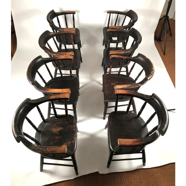 Black Set of 8 Matched Captain's Dining Chairs For Sale - Image 8 of 13