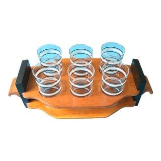 Vintage Cocktail Glasses & Wood Holder