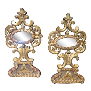 18th Century French Antique Mirrors Gilt Wood Mirrors With Original Glass - a Pair For Sale