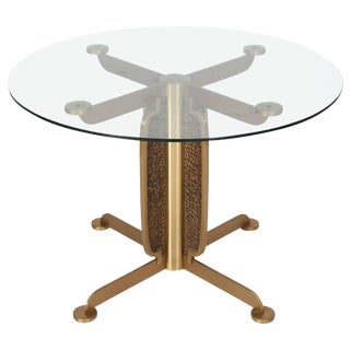 Brass Cast Dining Table with Glass Top by Luciano Frigerio For Sale