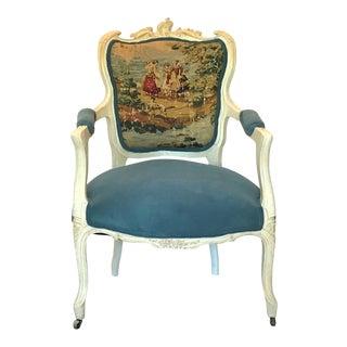 19th Century Parcel Gilt Louis XV Velvet & Toile Fauteuil For Sale