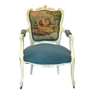 Mid 19th Century Antique Louis XV Style Velvet & Toile Fauteuil For Sale