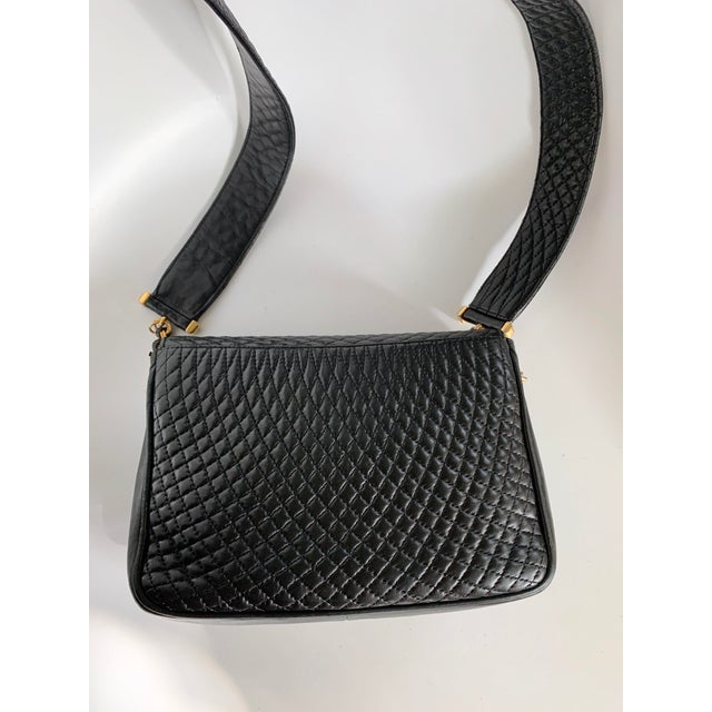 Late 20th Century Vintage Bally Handbag Quilted Black Lamb Skin Leather For Sale - Image 5 of 13