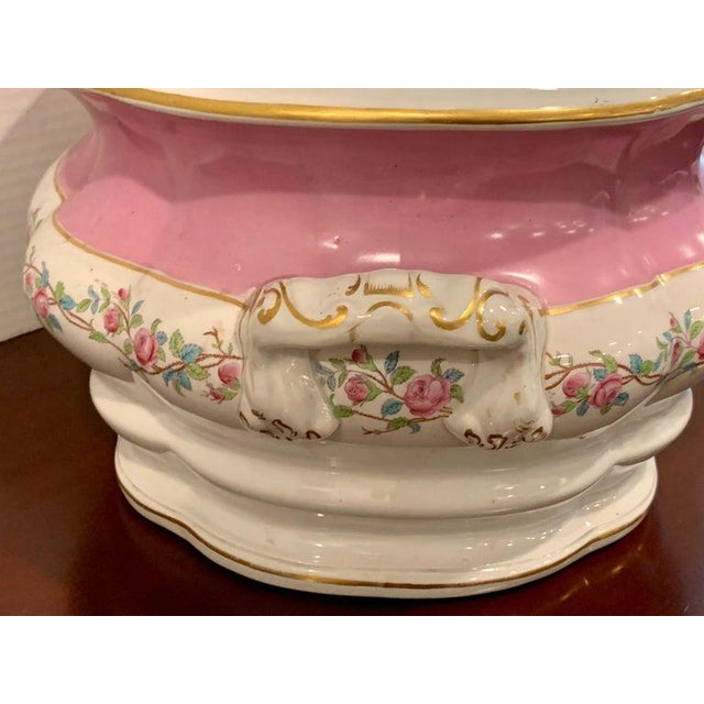 19th Century Pink Floral Porcelain Foot Bath, Attributed to Mintons For Sale - Image 11 of 12