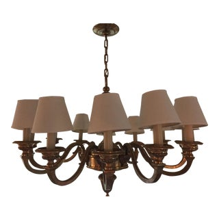 Antique Traditional Brass Chandelier For Sale