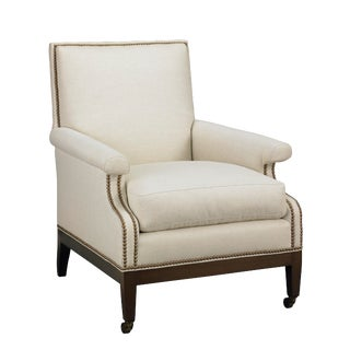 Contemporary Upholstered Arm Chair With Nail Trim For Sale