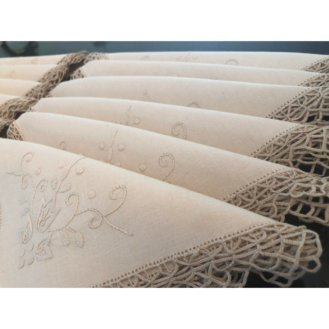 Early 20th Century Vintage Italian Linen Napkins Hand-Embroidered Reticella - Set of 12 For Sale - Image 5 of 13