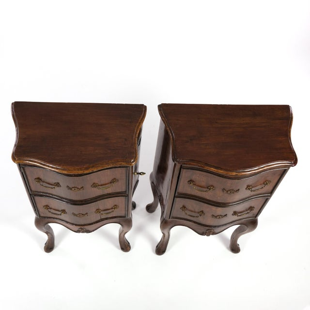 Late 19th Century 1890 Pair of Italian Walnut Bedside Tables With Carved and Ebonized Details, Each With Faux Drawer Front Single Doors For Sale - Image 5 of 13