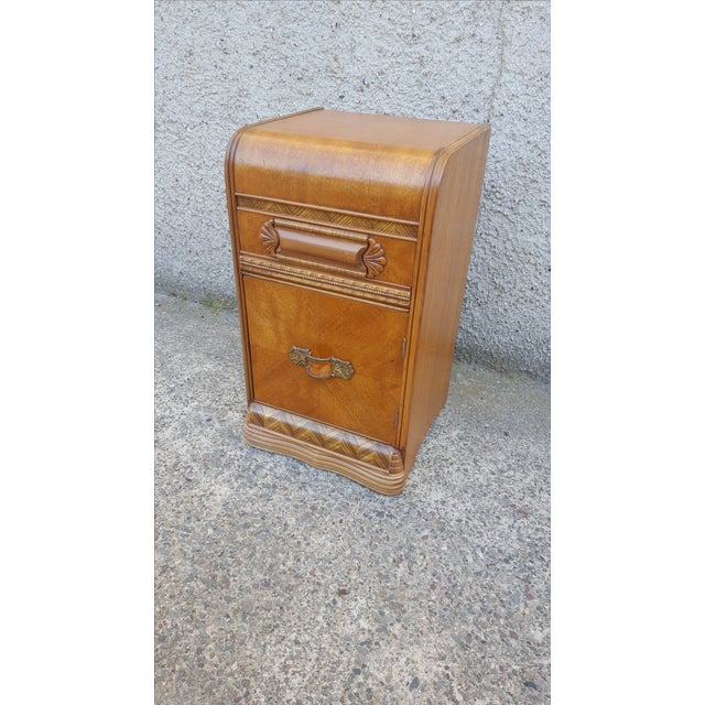 Vintage Restored Art Deco Waterfall Nightstand - Image 3 of 7
