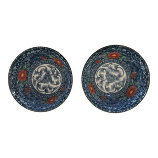 Asian Blue and White Floral Bowls - a Pair For Sale