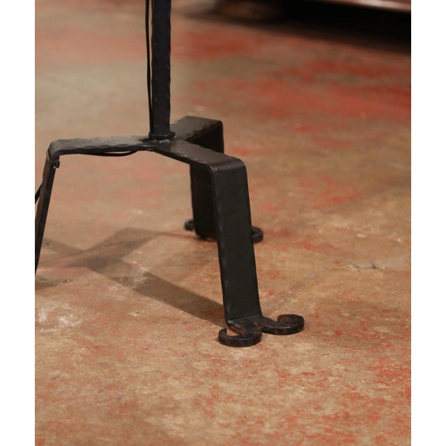 Early 20th Century French Gothic Forged Iron Four-Light Floor Lamp For Sale - Image 11 of 13