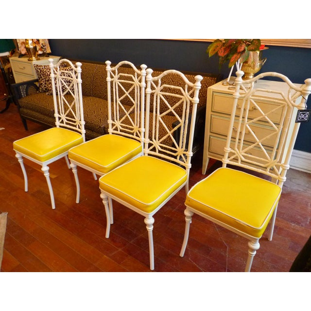 Faux Bamboo Regency Chippendale Dining Chairs - Set of 4 - Image 11 of 11