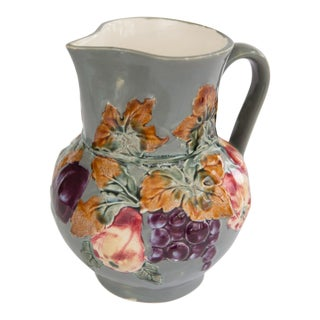 Antique Majolica Hand Painted Fruit Pitcher For Sale