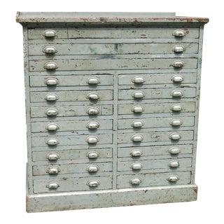 Vintage Industrial Distressed Multi Drawer Cabinet For Sale