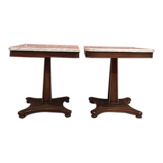 Fine Arts Furniture Marble Top Side Tables - A Pair For Sale