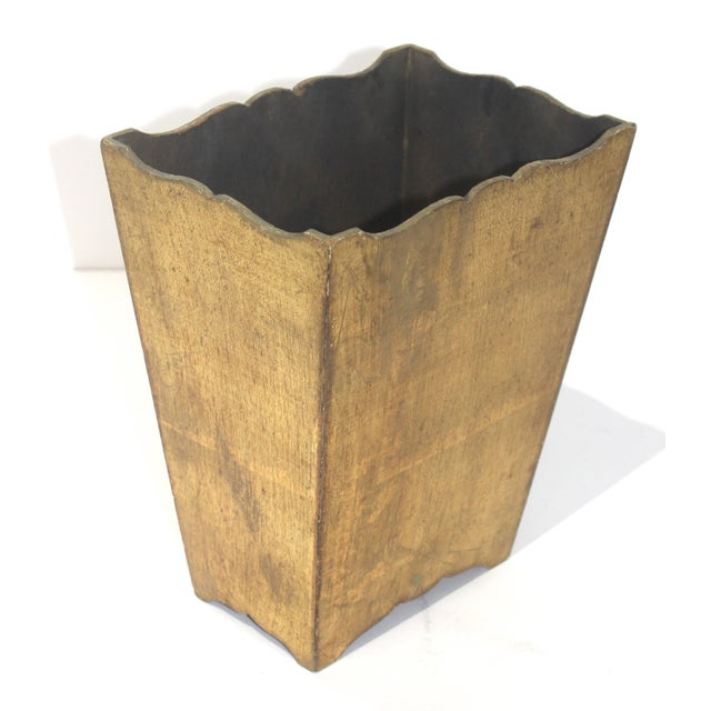 Mid-Century Hollywood Regency Gilt Wood waste basket for writing desk, vanity table, or boudoir from a Palm Beach estate.
