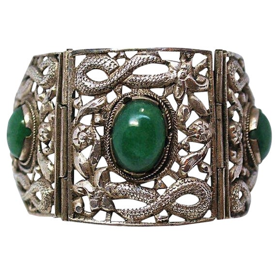 Circa 1940s Chinese Sterling & Serpentine Bracelet For Sale