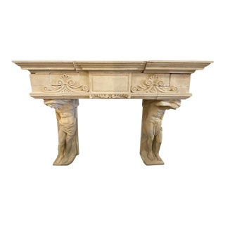 French Limestone Mantel Atlas Atlantes For Sale