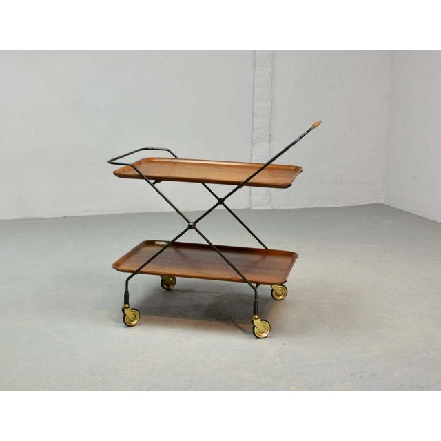 Mid-Century Design Teak and Steel Tea Trolley on Brass wheels by Paul Nagel, Germany 1950s For Sale - Image 6 of 13