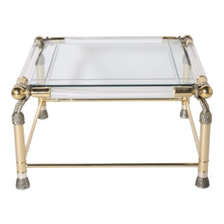 French Brass and Lucite Rope Motif Side Table For Sale