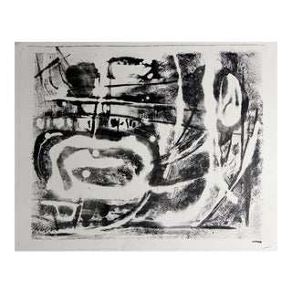 Monochromatic Mid Century Abstract Lithograph For Sale