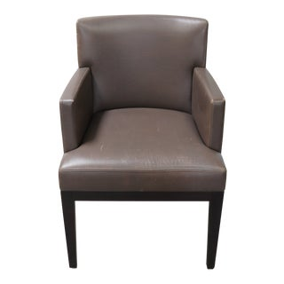 Christian Liaigre Ebony Finish Leather Arm Chair For Sale