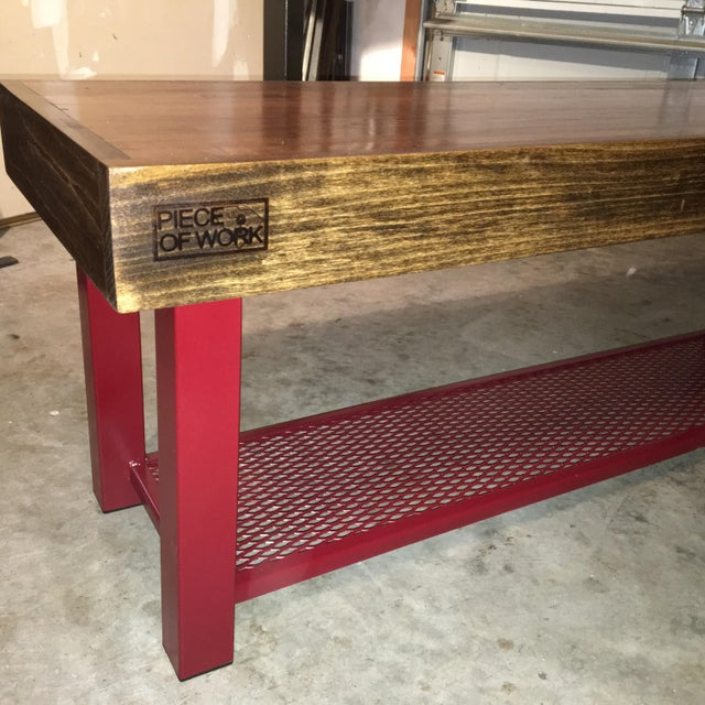 Red Foyer Bench : Industrial red hallway bench chairish