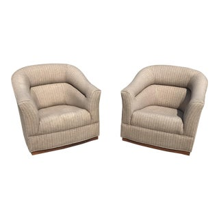 Mid-Century Modern Swivel Club Chairs Wood Plinth Base - a Pair