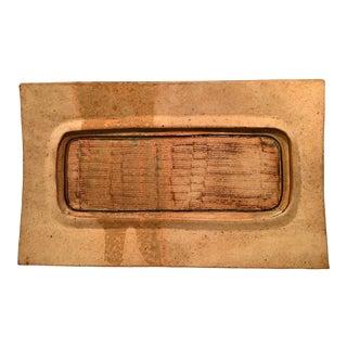 1973 Handmade Gold Stoneware Platter For Sale