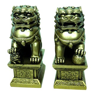Brass Fu Dogs Feng Shui Statues - A Pair