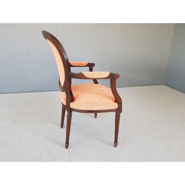 Louis XVI Velvet Upholstery Arm Chair For Sale - Image 11 of 13