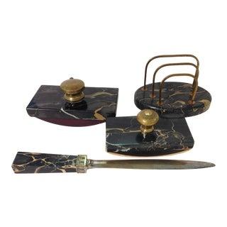 Antique Austrian Art Deco Marble and Gilt Desk Set - 4 Pieces For Sale
