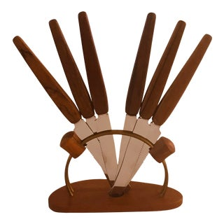 Mid-Century Modern Teak and Stainless Steel Fruit Knife Set - 7 Pieces For Sale