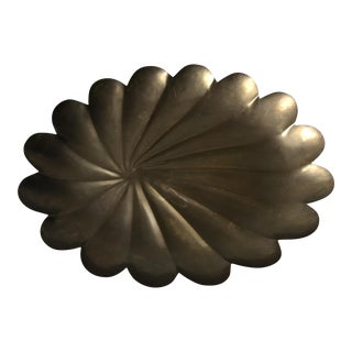 Mid Century Brass Palm Leaf Serving Tray For Sale