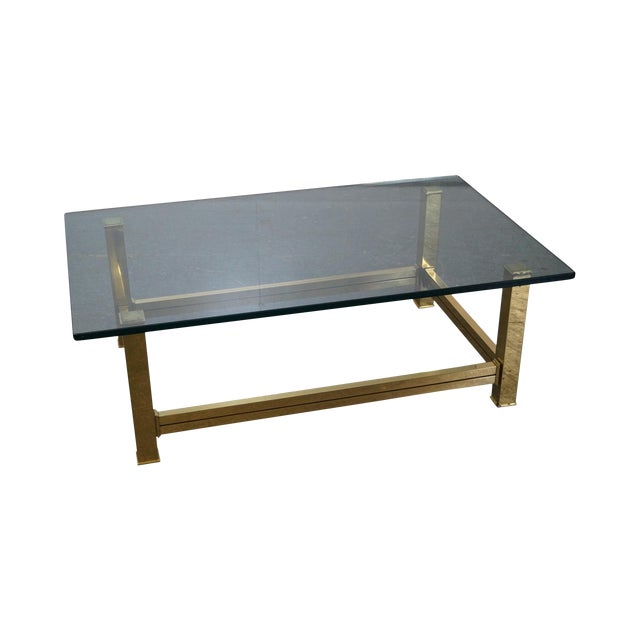 Mastercraft Brushed Brass & Glass Coffee Table For Sale