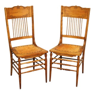French Country Leather & Wood Dining Chairs - a Pair For Sale
