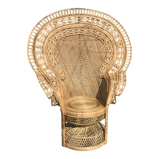 Peacock Emmanuelle High Back Wicker Throne Armchair For Sale
