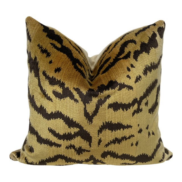 """Scalamandre """"Tiger"""" in Brown and Gold 18"""" Pillow For Sale"""