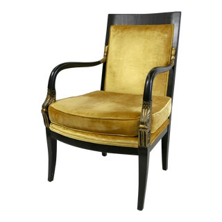 Egyptian Revival Arm Chair With Gold Accents For Sale