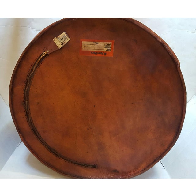 Peruvian Brown Leather Pouf For Sale - Image 4 of 4