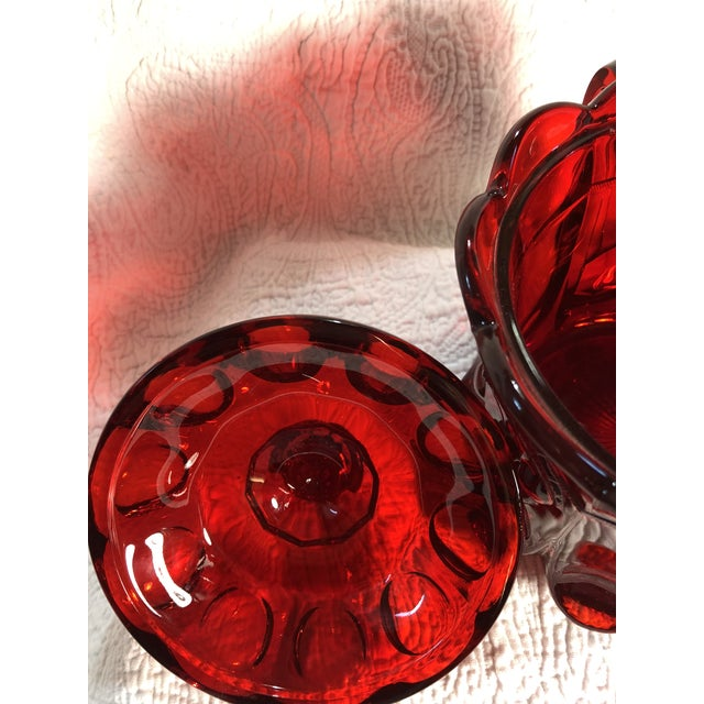 1960s Vintage Moser Glass Cherry & Cable Ruby Spooner Vase With Double Handles For Sale - Image 5 of 8