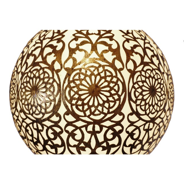 Vintage Brass & Frosted Globe Pendant For Sale - Image 4 of 5