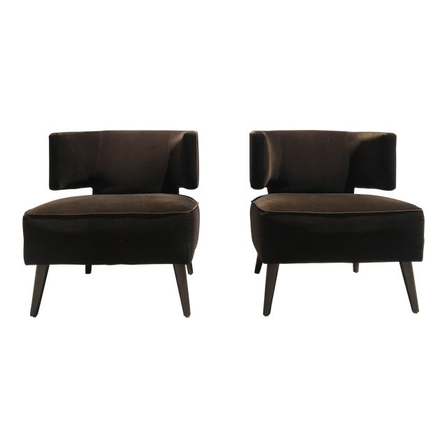 Pair of Room & Board Mid-Century Brown Velvet Chairs For Sale
