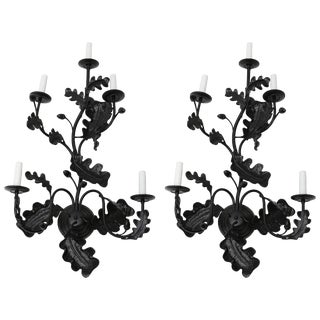Satin Black Five-Light Wall Sconces Acorn Leaf Motif by William Switzer - a Pair For Sale