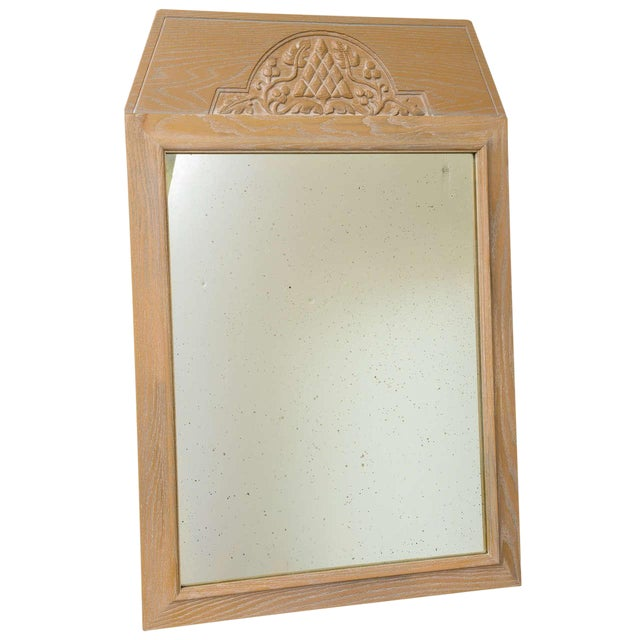 Jamestown Lounge Co. - 1940s Carved Cerused Oak Mirror For Sale
