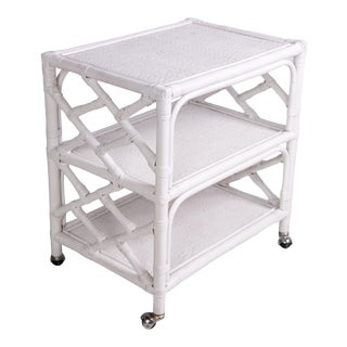 1960s Hollywood Regency White Rattan 3 Tier Bar Cart For Sale