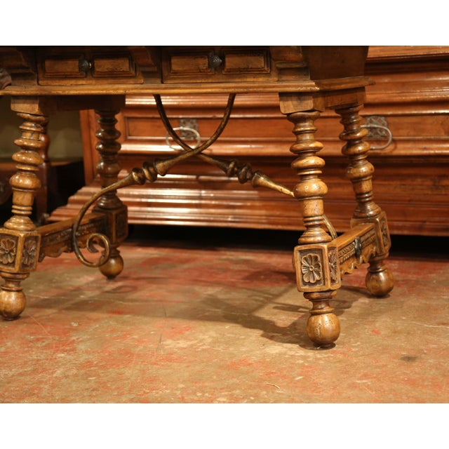 Early 20th Century Spanish Carved Walnut Writing Table With Iron Stretcher For Sale - Image 4 of 12